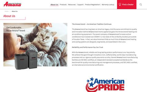 Screenshot of About Page goodmanmfg.com - Reliable, Innovative And Durable Home Appliances | Amana - captured July 20, 2018