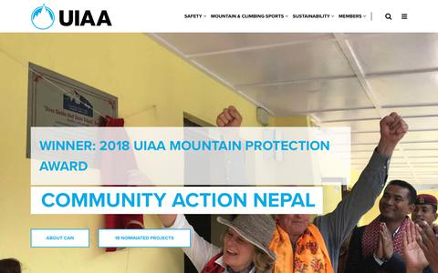 Screenshot of Home Page theuiaa.org - UIAA – International Climbing and Mountaineering Federation - captured Oct. 19, 2018