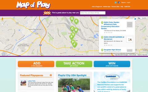 Screenshot of Maps & Directions Page kaboom.org - Find a Great Place to Play Near You | Map of Play - captured Sept. 19, 2014