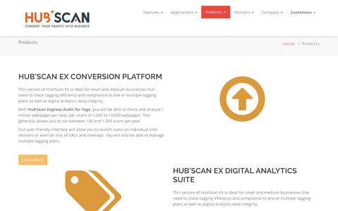 Screenshot of Products Page hub-scan.com - Products - Hub'Scan - Digital and web analytics audit solution - captured Jan. 3, 2017