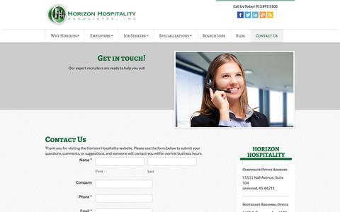 Screenshot of Contact Page horizonhospitality.com - Hospitality Employment Agencies | Horizon Hospitality - captured Jan. 23, 2016