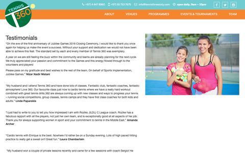 Screenshot of Testimonials Page tennisthreesixty.com - Tennis 360 - captured Oct. 20, 2018