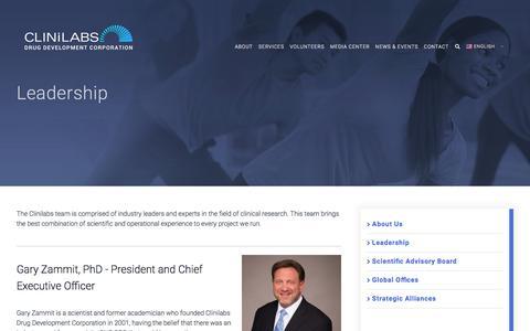 Screenshot of Team Page clinilabs.com - Leadership - Clinilabs, Inc. - captured July 19, 2018