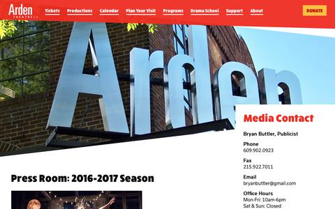 Screenshot of Press Page ardentheatre.org - 2016-2017 Season Archives - Arden Theatre Company - captured Oct. 4, 2018