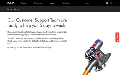 Screenshot of Support Page dyson.com - Farmers Branch | Dyson - captured April 25, 2018