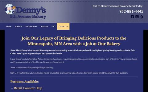 Screenshot of Jobs Page dennysbakery.com - Find a Great Job at Denny's 5th Avenue Bakery in Minneapolis, MN - captured April 19, 2016