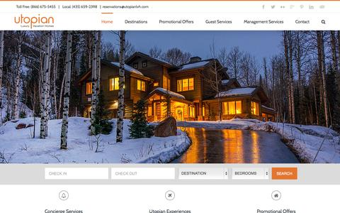 Screenshot of Home Page utopianlvh.com - Luxury Vacation Rentals | Utopian Luxury Vacation Homes - captured Nov. 3, 2015