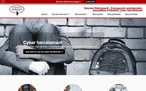 Screenshot of Home Page internet-bodyguard.com - Internet Bodyguard - Escroquerie sentimentale, usurpation d'identité, cyber harcèlement - captured Sept. 30, 2014