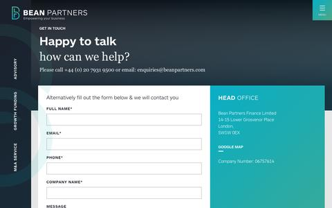 Screenshot of Contact Page beanpartners.com - Contact - Bean Partners - captured Aug. 1, 2018