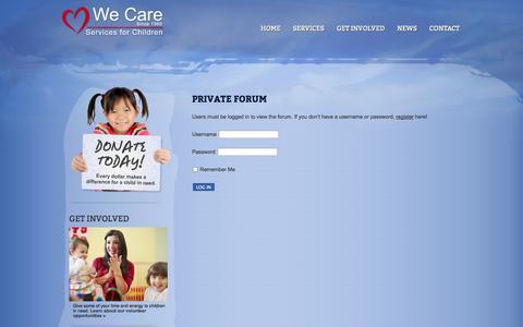 Screenshot of Login Page wecarechildren.org - We Care Children » Login - captured Oct. 27, 2014