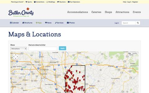 Screenshot of Maps & Directions Page visitbutlercounty.com - Maps & Locations | Visit Butler County Pennsylvania! - captured Oct. 6, 2014