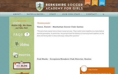 Screenshot of Testimonials Page berkshiresocceracademy.com - Overnight Soccer Camp for Girls | Overnight Summer Soccer Camp for Girls | Berkshire Soccer Academy - captured Aug. 1, 2018