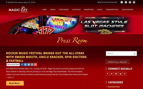 Screenshot of Press Page magiccitycasino.com - Magic City Casino | Press Room - captured March 6, 2018