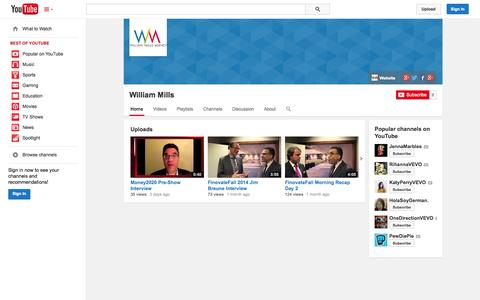 Screenshot of YouTube Page youtube.com - William Mills  - YouTube - captured Nov. 3, 2014