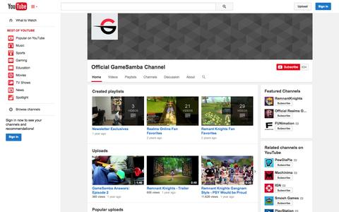 Screenshot of YouTube Page youtube.com - Official GameSamba Channel  - YouTube - captured Oct. 22, 2014