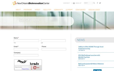Screenshot of Signup Page neworleansbio.com - Sign Up - New Orleans BioInnovation Center New Orleans BioInnovation Center - captured Oct. 26, 2014