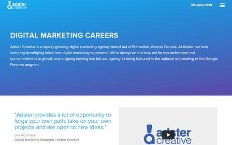 Screenshot of Jobs Page adster.ca - Adster Creative Careers | SEO & Marketing Jobs in Edmonton - captured Oct. 2, 2015