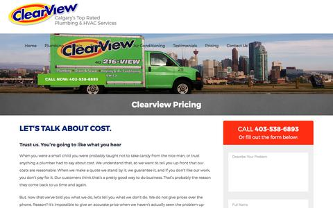 Screenshot of Pricing Page clearviewplumbing.ca - Calgary Plumber | Pricing and How we Do Business | ClearView Plumbing. - captured Aug. 18, 2017