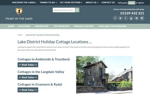 Screenshot of Locations Page heartofthelakes.co.uk - Lake District Holiday Cottage Locations with Heart of the Lakes | Heart of the Lakes - captured Nov. 4, 2018