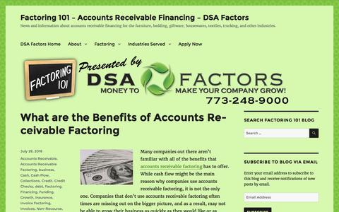 Screenshot of Blog dsafactors.com - Factoring 101 – Accounts Receivable Financing – DSA Factors – News and information about accounts receivable financing for the furniture, bedding, giftware, housewares, textiles, trucking, and other industries. - captured July 31, 2016