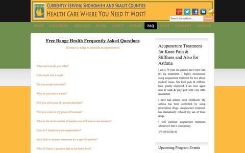 Screenshot of FAQ Page freerangehealth.org - FAQ | Free Range Health - captured Sept. 30, 2014
