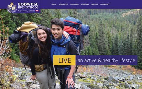 Screenshot of Home Page bodwell.edu - Bodwell High School   Canada's International Boarding School - captured Sept. 22, 2018
