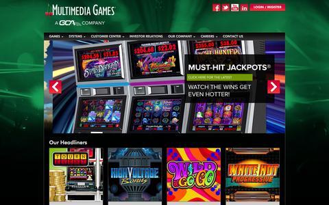 Screenshot of Home Page multimediagames.com - Multimedia Games - captured Jan. 29, 2015