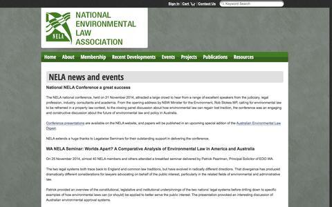 Screenshot of Press Page nela.org.au - News - captured Dec. 21, 2016