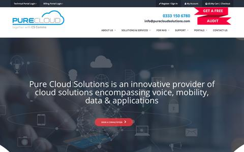 Screenshot of Home Page purecloudsolutions.co.uk - Pure Cloud Solutions | Hosted Cloud Solutions & Telephony Services - captured July 24, 2018