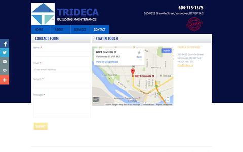 Screenshot of Privacy Page Contact Page trideca.ca - Contact - captured Oct. 25, 2014