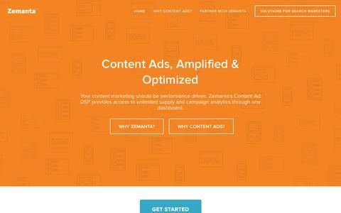 Screenshot of Home Page zemanta.com - Zemanta - captured Jan. 15, 2015