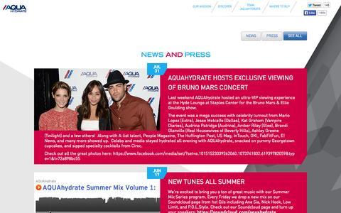 Screenshot of Press Page aquahydrate.com - News & Press - captured Sept. 13, 2014