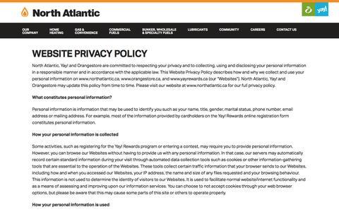 Screenshot of Privacy Page northatlantic.ca - North Atlantic   » Website Privacy Policy - captured Dec. 3, 2016