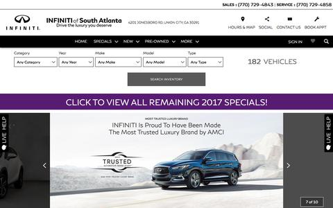 Screenshot of Home Page infinitiofsouthatlanta.com - INFINITI of SOUTH ATLANTA in Union City, GA | A Fayetteville INFINITI Source - captured Sept. 14, 2018