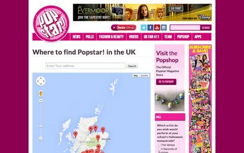 Screenshot of Maps & Directions Page popstaronline.com - POPSTAR! » Where to find Popstar! in the UK - captured Nov. 2, 2014