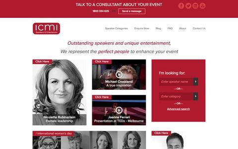 Screenshot of Home Page icmi.com.au - International & Australian Motivational Speakers | ICMI Speakers Bureau - captured Nov. 17, 2016