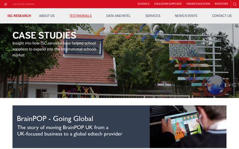 Screenshot of Case Studies Page iscresearch.com - Case Studies - International School Consultancy - captured Oct. 4, 2017