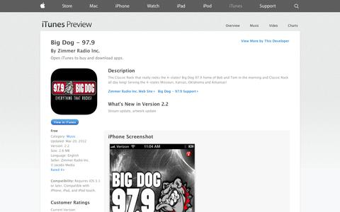 Screenshot of iOS App Page apple.com - Big Dog - 97.9 on the App Store on iTunes - captured Nov. 4, 2014
