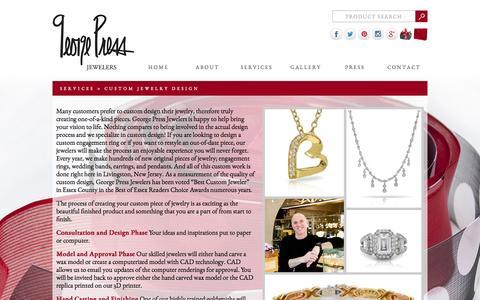 Screenshot of Services Page georgepress.com - Custom Jewelry Design - captured Oct. 2, 2014