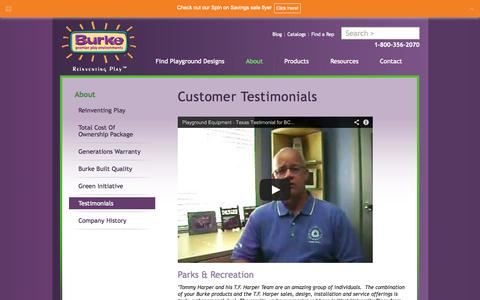 Screenshot of Testimonials Page bciburke.com - Outdoor Playgrounds   Customer Testimonials   Children Playground - captured Oct. 4, 2014