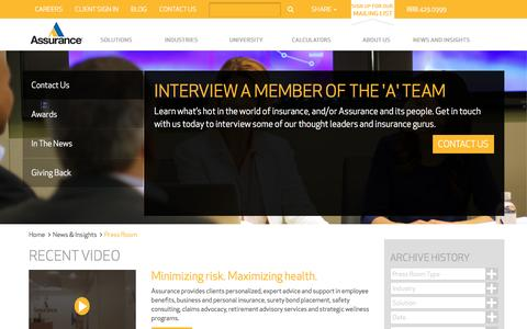 Screenshot of Press Page assuranceagency.com - Press Room | Assurance Agency - captured April 22, 2017