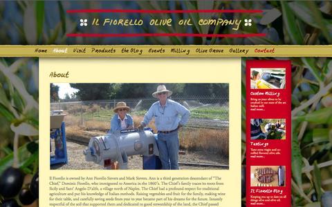 Screenshot of About Page ilfiorello.com - About | Il Fiorello Olive Oil Company - captured Oct. 6, 2014