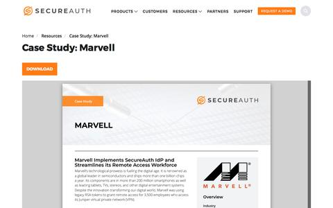 Screenshot of Case Studies Page secureauth.com - Case Study: Marvell | SecureAuth - captured Aug. 21, 2019