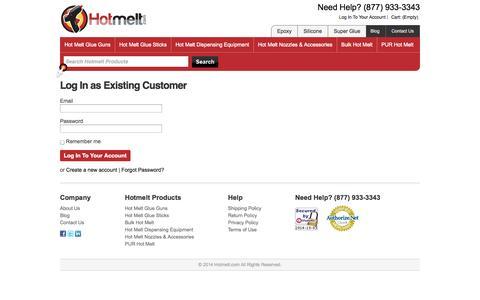 Screenshot of Login Page hotmelt.com - Log In To Your Account | Hotmelt.com - captured Oct. 3, 2014