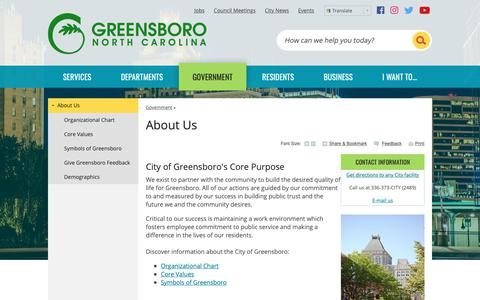 Screenshot of About Page greensboro-nc.gov - About Us | Greensboro, NC - captured Sept. 28, 2018