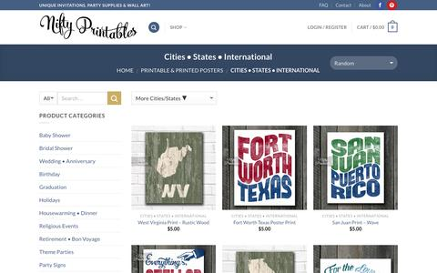 Screenshot of Locations Page niftyprintables.com - US State Art • City Wall Art • International Prints - captured Dec. 26, 2016