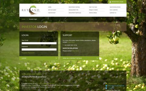 Screenshot of Login Page rutlandpartners.com captured Feb. 15, 2016