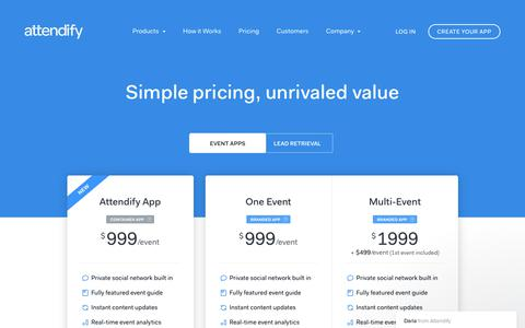 Screenshot of Pricing Page attendify.com - Event App Pricing and Conference App Cost | Attendify - captured Sept. 24, 2017