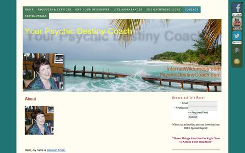 Screenshot of About Page internalwilderness.com - Deb Frueh, biography, interviews, spiritual search, metaphysical thought, my policies - captured Sept. 30, 2014