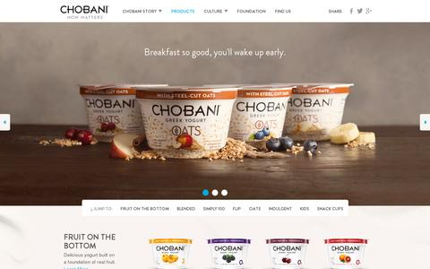 Screenshot of Products Page chobani.com - Chobani - How Matters - captured July 19, 2014